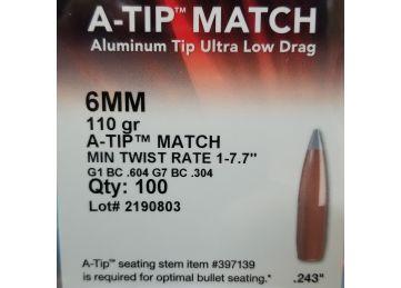 Hornady 6mm/.243 A-TIP Match, 110 grain, 100 bullet box