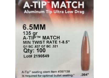 Hornady 6.5mm/.264 A-TIP Match, 135 grain, 100 bullet box