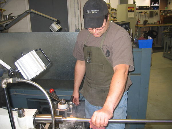 GEORGE at the lathe