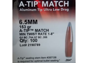 Hornady 6.5mm/.264 A-TIP Match, 153 grain, 100 bullet box