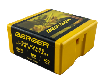 Berger 6mm 109 grain Hybrid Target Bullet-100ct